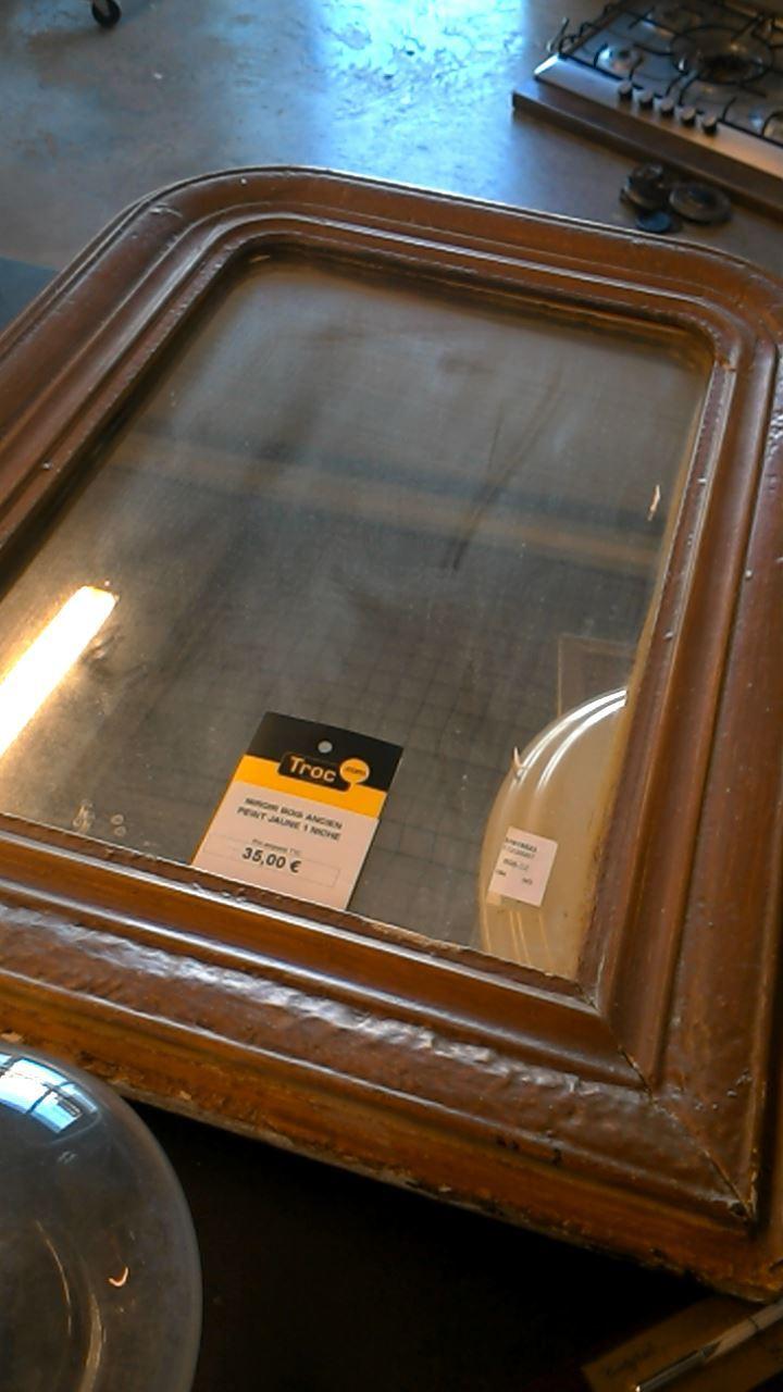 Miroir bois ancien peint jaune 1 niche d 39 occasion for Miroir ancien occasion