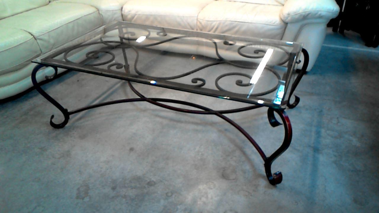 Table basse fer forge plat verre bois et chiffon d 39 occasion - Table basse bois et chiffon ...
